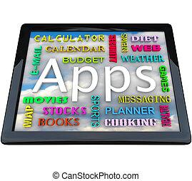 tabela, computador, -, Apps, palavras,...