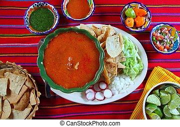 pozole mayan yucatan Mexican soup chili sauces nachos Mexico...