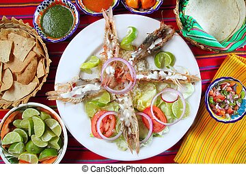 Mexican shrimps with butter cream chili sauces