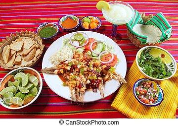 Guajillo chili shrimps Mexican dish chili sauces nachos...
