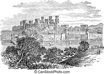 Aberconway Castle, now known as Conway Castle, in the North...