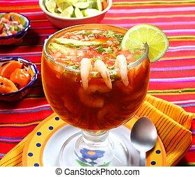 cóctel, camarones, mariscos, mexicano, estilo, chile,...