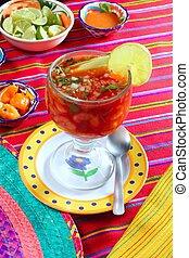 cocktail of shrimps mexican chili sauces lemon
