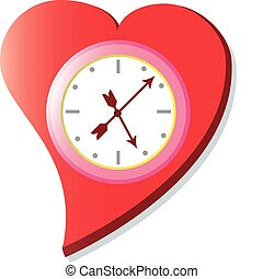 Heart Clock - A heart with a ticking clock in the middle