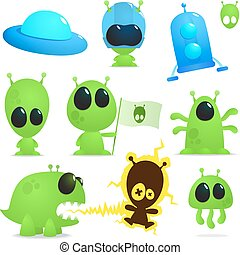 ufo collection - collection of cartoon alens, monsters and...