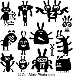 crazy rabbits set05 - collection of funny cartoon rabbit...