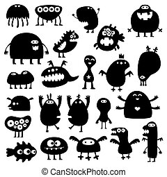 Monsters - Collection of cartoon funny monsters silhouettes
