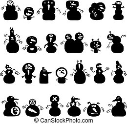 snowmen silhouettes - Collection of cartoon funny christmas...