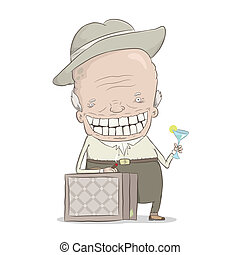 old millionaire - cartoon illustration of the old...
