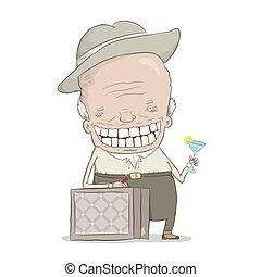 old millionaire - cartoon illustration of the old...