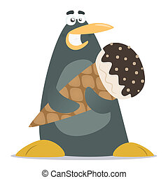 penguin with a large ice cream - illustration of cartoon...