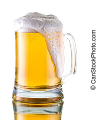 Beer - Fresh beer with froth, isolated on white