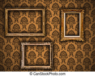 Gilded vintage frames on damask wallpaper background
