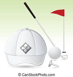 Golf Accessories - illustration of golf cao with golf stick...