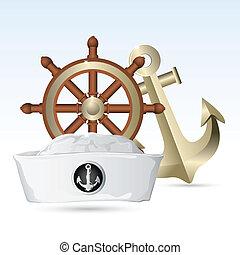 marinheiro, chapéu, guiando, roda, âncora