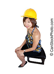 Asian Female Construction Worker - An Asian Female...