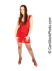 Portrait of a sexy young woman in red dress - Full length...