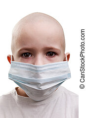 Child in medicine mask - Flu illness child boy in medicine...