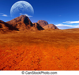 colorful fantasy landscape - desert,moon, planet, sky,...