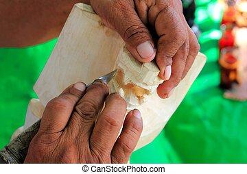 Jaguar mayan sculptor handcraft knife hands Chichen Itza...
