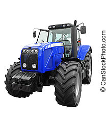 New tractor - New blue tractor isolated on white background