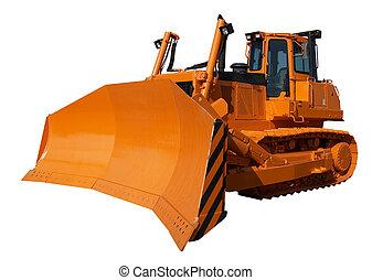 New orange bulldozer isolated on white background