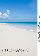 Word holidays on a white sand beach near blue ocean in...