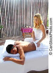 Massage therapy physiotherapy in jungle cabin - Massage...