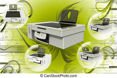 Printer - Digital illustration of printer in colour...