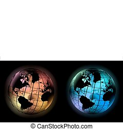 glowing globes - vector illustration off noble glowing world...
