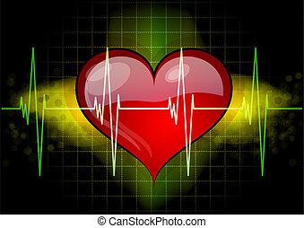 heart with ekg - Heart with ekd line on the black