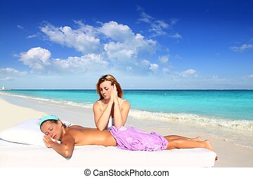 beach massage meditation shiatsu elbows pressure - massage...