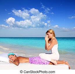 Caribbean beach massage meditation shiatsu woman