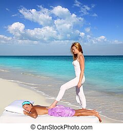 back walking shiatsu massage Caribbean beach woman paradise...
