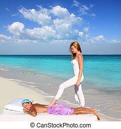 back walking shiatsu massage Caribbean beach woman paradise...
