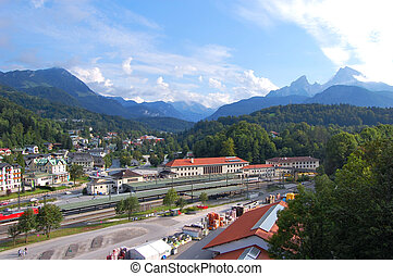 Berchtesgaden, Germany - Central station and Watzmann. View...