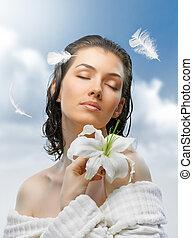 flower girl - beauty flower girl on the sky background