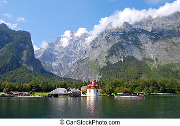 Koenigssee and Watzmann - Monastery of St.Bartholomae and...