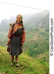 Flowered Hmong Grandmother - This grandmother was part...