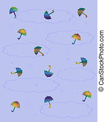 tiny umbrellas - tiny colorful umbrellas scattered on blue...