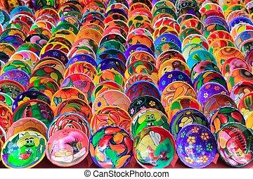 Placas, arcilla, cerámico, colorido,  México