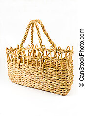 Straw shopping basket isolated on white