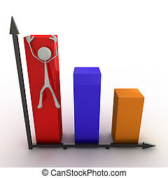 Stickman climbing on a diagram - 3d figure climbing on a...