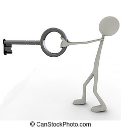Stickman with Key - 3d figure pulling a key from a keyhole.