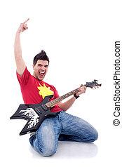 músico, juego, guitarra, el suyo, rodillas