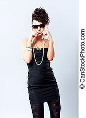 noir, robe, femme, mode,  sexy