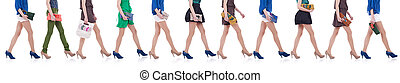 collection of legs and purses - women carrying fashion...
