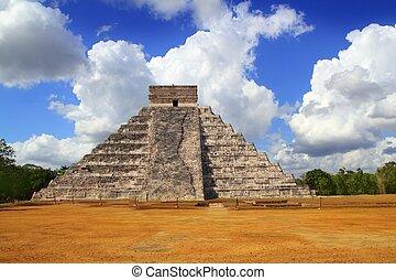 Ancient Chichen Itza Kukulcan Mayan Pyramid