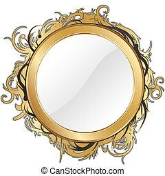gold mirror isolated for any background