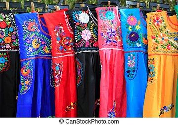 Mayan woman dress embroidery Yucatan Mexico - Mayan woman...